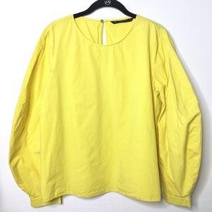 Zara Basic Yellow Balloon Sleeve Blouse